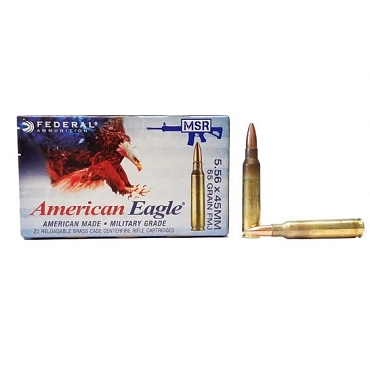 Federal 5.56x45mm NATO 55 Grain FMJ BT 20 RDS XM193
